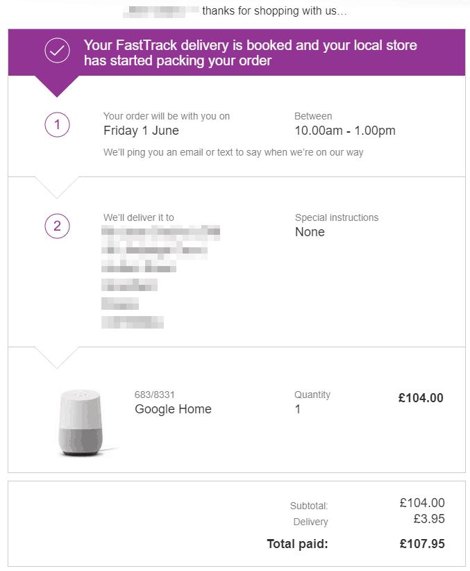 confirmation commande google home