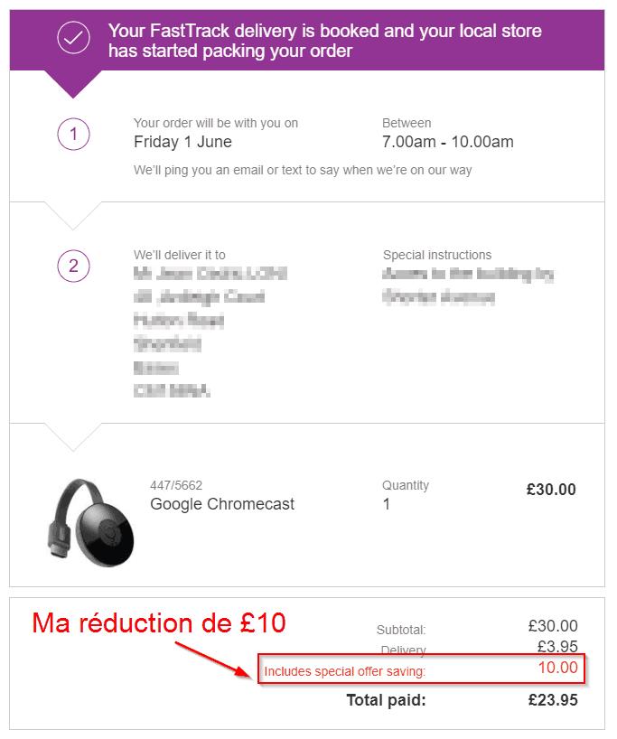 Exemple confirmation commande produit avec réduction