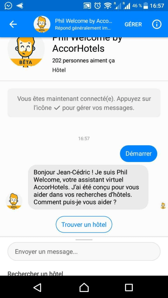 Screenshot Chatbot Phil AccorHotels page accueil