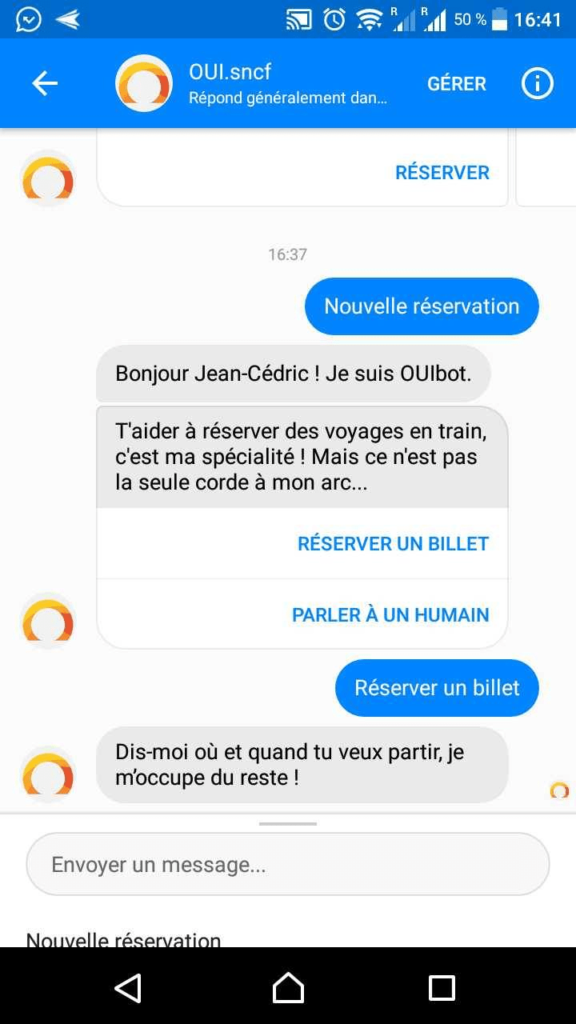 screenshot page accueil chatbot oui sncf