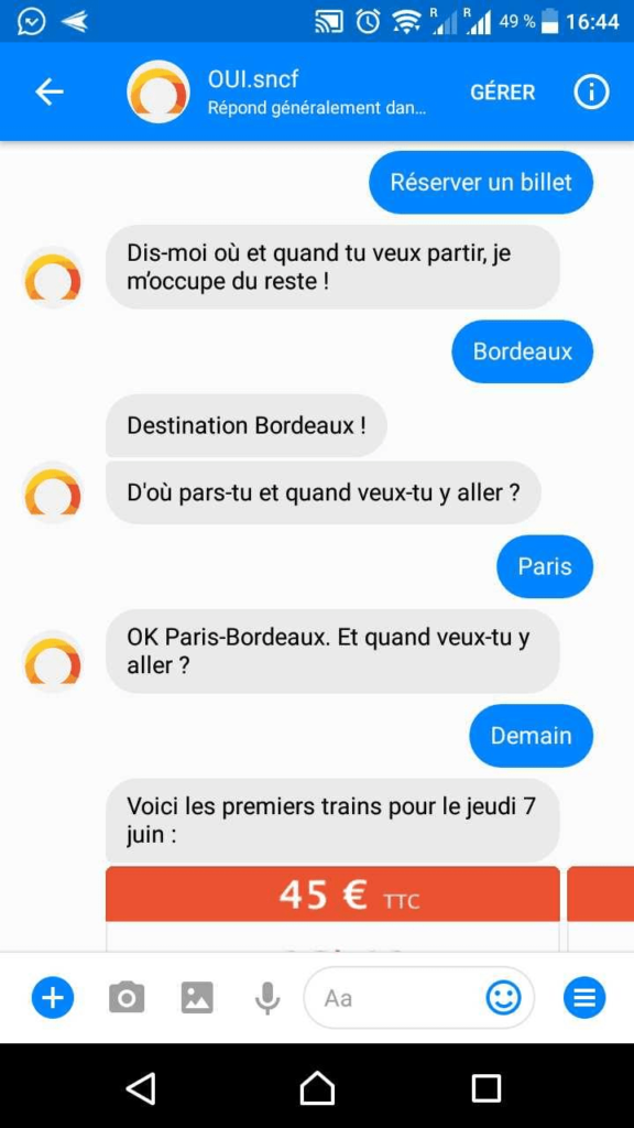 screenshot page chatbot oui sncf pour reservation